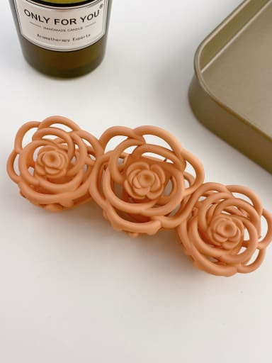 Korean pink 10.8cm Alloy Resin Trend Hollow Flower  Jaw Hair Claw