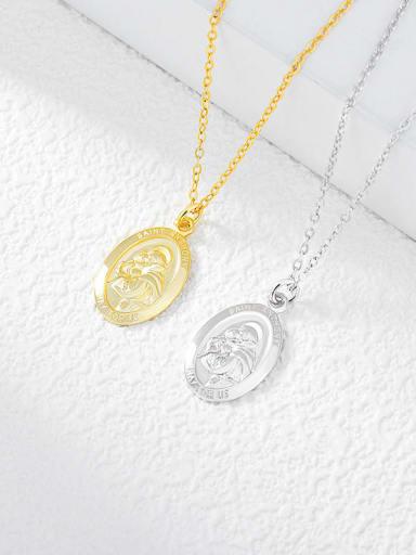 N0094 925 Sterling Silver Oval Vintage Necklace