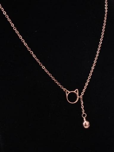 Titanium Hollow Cat Cute Tassel Necklace