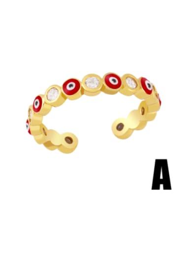 A (red) Brass Enamel Heart Minimalist Band Ring