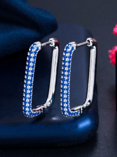 Platinum blue zirconium Brass Cubic Zirconia Geometric Luxury Huggie Earring