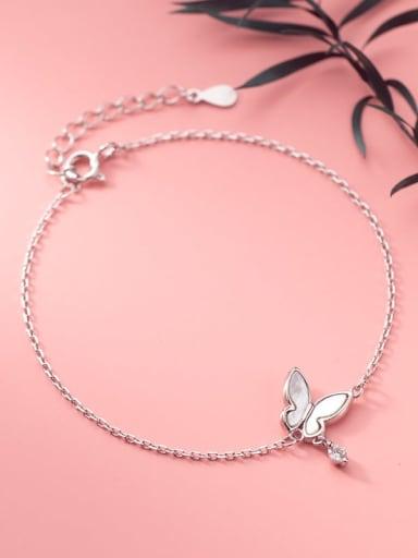 925 Sterling Silver Shell Butterfly Minimalist Link Bracelet