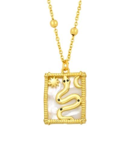 D Brass Shell Geometric Vintage Necklace