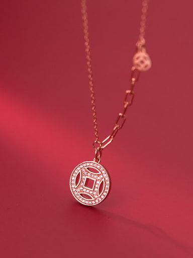 rose gold 925 Sterling Silver Cubic Zirconia Coin Ethnic Necklace