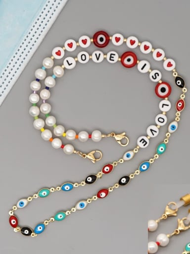 ZZ N200088A Stainless steel Imitation Pearl Multi Color Letter Bohemia Hand-woven Necklace