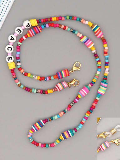 RT N200002B Stainless steel Bead Multi Color Polymer Clay Letter Bohemia Hand-woven Necklace