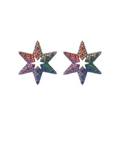 Brass Cubic Zirconia Star Dainty Cluster Earring