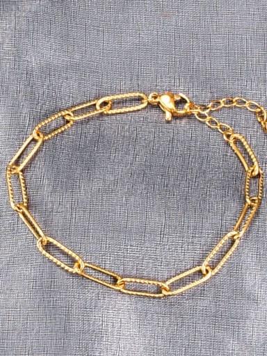 Titanium Hollow  Geometric Minimalist Link Bracelet