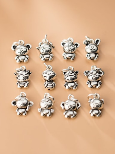 999 Fine Silver With White Gold Plated Cute Zodiac Signs Pendant Diy Accessories