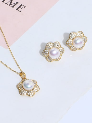 Brass Imitation Pearl Vintage Flower  Earring and Necklace Set