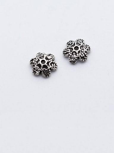 925 Sterling Silver With Antique Silver Plated Vintage Flower Bead Caps  Diy Accessories