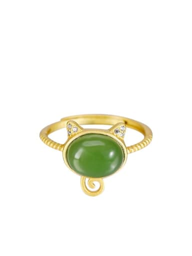 925 Sterling Silver Jade Cat Cute Band Ring