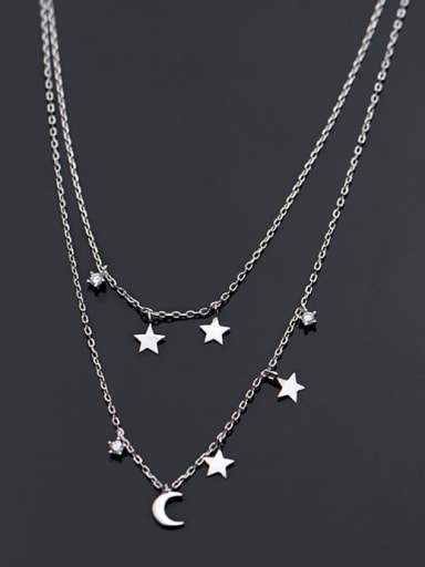 925 Sterling Silver Moon Minimalist Multi Strand Necklace