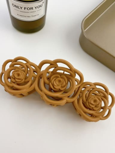 Brown yellow 10.8cm Alloy Resin Trend Hollow Flower  Jaw Hair Claw