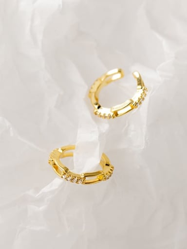 925 Sterling Silver Cubic Zirconia Geometric Minimalist Clip Earring