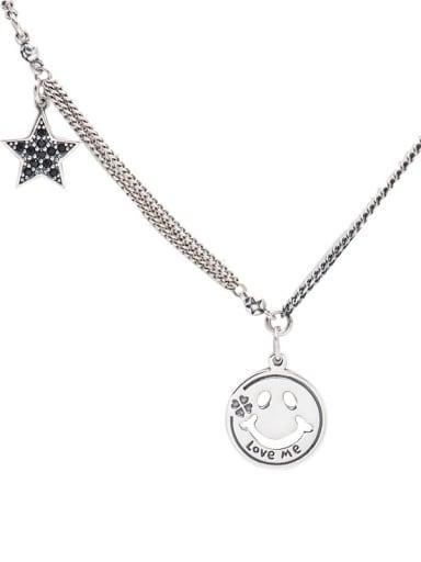 925 Sterling Silver Vintage Smiling face pentastar Pendant Necklace