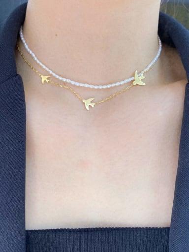 Titanium Steel Imitation Pearl Geometric Minimalist Multi Strand Necklace