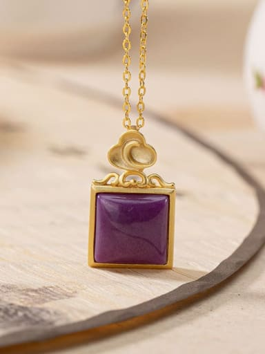 Pendant (including chain) 925 Sterling Silver Tourmaline Vintage Square Pendant
