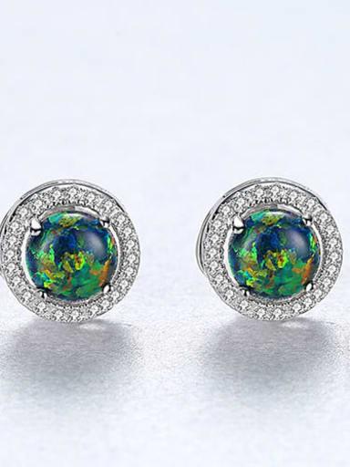 Green 18H04 925 Sterling Silver Opal Round Minimalist Stud Earring