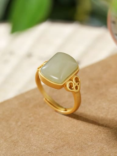 925 Sterling Silver Jade Rectangle Vintage Band Ring