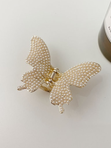 Butterfly Pearl 5.2cm Alloy Imitation Pearl Minimalist Butterfly Jaw Hair Claw