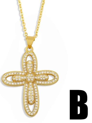 nkt41 B Brass Cubic Zirconia Cross Vintage Regligious Necklace