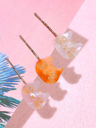 Alloy Cellulose Acetate Cute Cat  Hair Pin