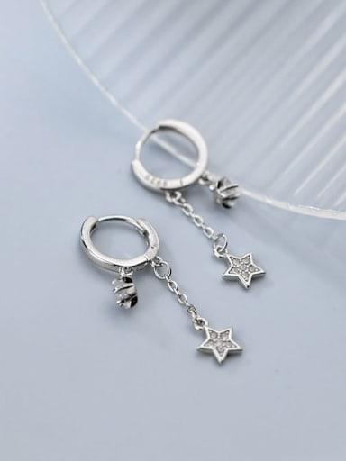 silver 925 Sterling Silver Rhinestone Tassel Minimalist Huggie Earring