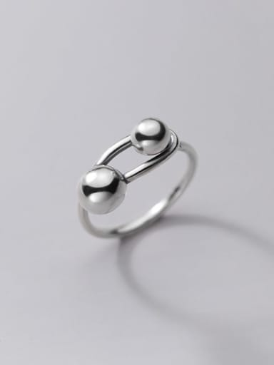 925 Sterling Silver Bead Geometric Vintage Band Ring
