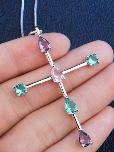 Platinum Copper Crystal Cross Minimalist Regligious Necklace