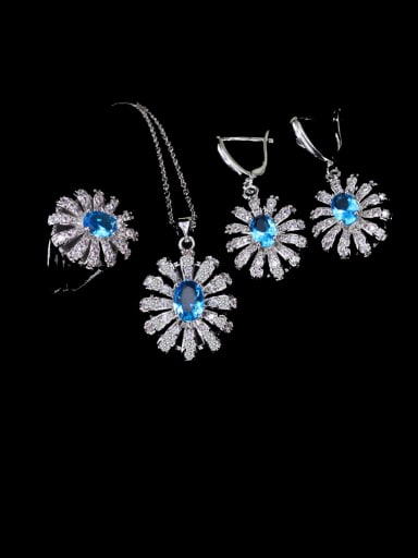 Sea blue ring size 6 Brass Cubic Zirconia Luxury Flower  Earring Ring and Necklace Set