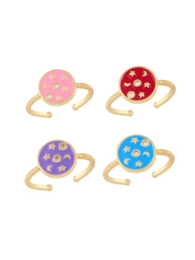 Brass Enamel Star Vintage Band Ring
