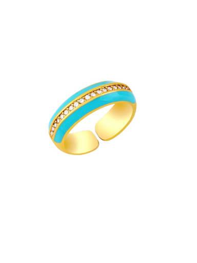 Light blue Brass Enamel Geometric Hip Hop Band Ring