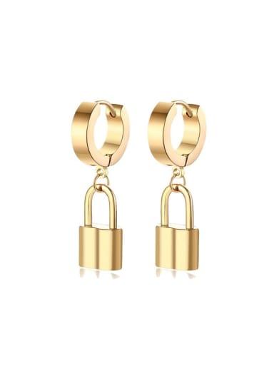 Brass Locket Minimalist Huggie Earring