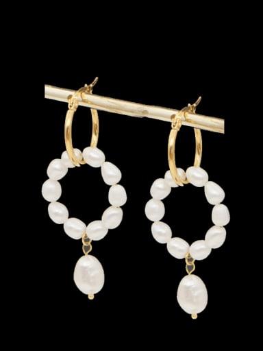 Stainless steel Freshwater Pearl Geometric Ethnic Drop Earring