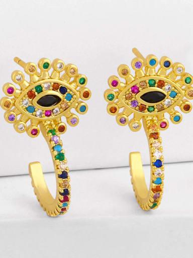 eye Brass Cubic Zirconia Rainbow Vintage Huggie Earring