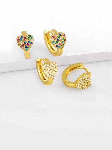 Brass Cubic Zirconia Heart Bohemia Stud Earring