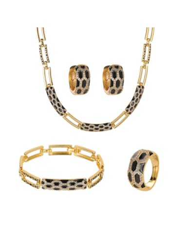 Brass Cubic Zirconia Vintage Snake  Ring Earring Bangle And Necklace Set