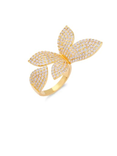 golden Brass Cubic Zirconia Butterfly Statement Cocktail Ring