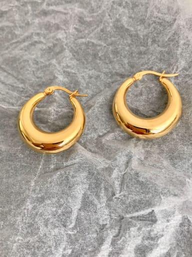 Titanium  Hollow Round Minimalist Huggie Earring
