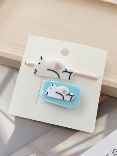 1 Blue polar bear Alloy Acrylic Cute Children cartoon animal fruit Hairpin Rubber band Set