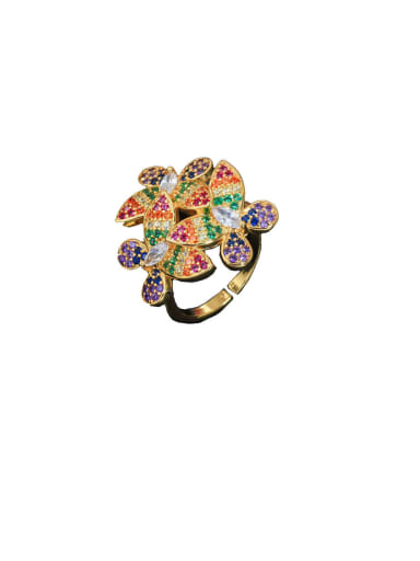 Gold color Copper With Platinum Plated Luxury Flower Free Size Statement Rings