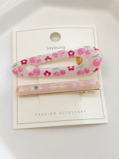 Cherry Alloy Cellulose Acetate  Minimalist Geometric  Hair Barrette