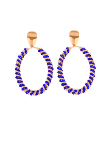 Blue ellipse Alloy Hollow Geometric Bohemia Drop Earring