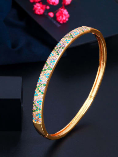 Brass Cubic Zirconia Round Luxury Band Bangle