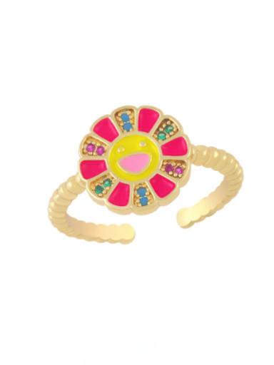 red Brass Enamel Smiley Flower Minimalist Band Ring