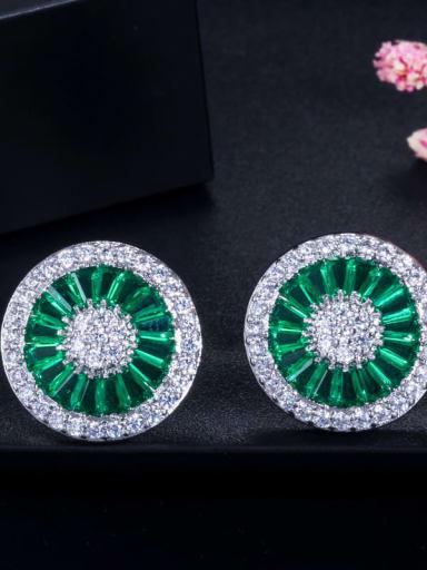 green Brass Cubic Zirconia Round Dainty Stud Earring