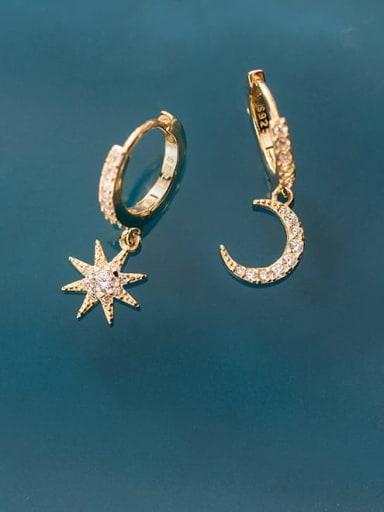 925 Sterling Silver Rhinestone Star Minimalist Huggie Earring