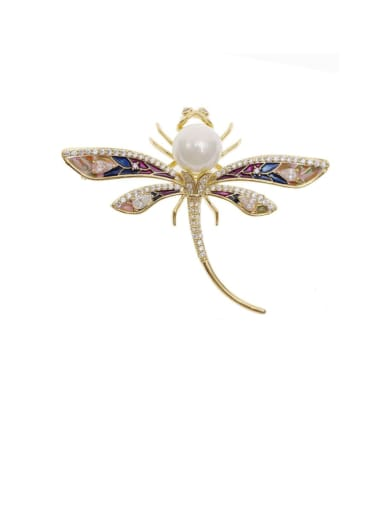 golden Brass Cubic Zirconia Dragonfly Trend Brooch