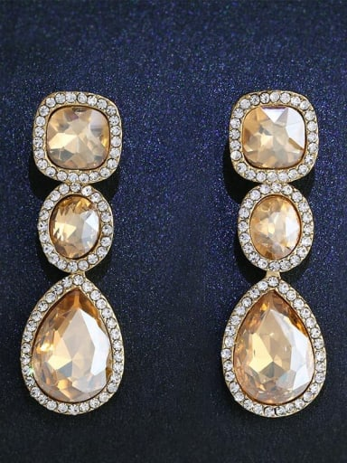 Alloy Glass Stone Water Drop Bohemia Cluster Earring